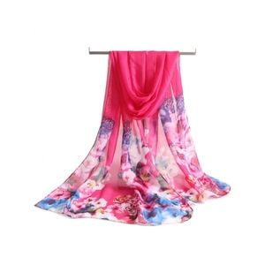 Accessories - Flourishing Floral Printing Chiffon Long Scarf Red